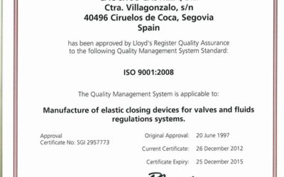 Erneuerung der ISO 9001:2008 Qualitäts-Zertifikat